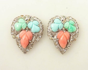 SALE --- Antique 1930's KTF Trifari Fruit Salad Rhinestone Dress Clip Pair