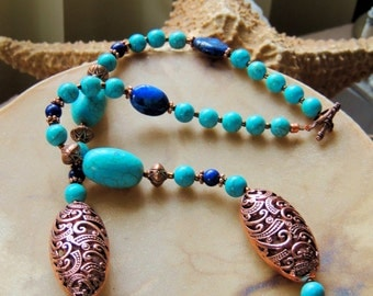 Turquoise and Copper Necklace, Turquoise Jewelry, Turquoise and Lapis Necklace, Lapis and Copper Jewelry, Handmade Jewelry