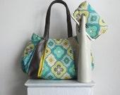 Large Hobo & Metalframe Clutch set  / LEMONGRASS MOJITO / lemon yellow, turquoise, white, grey sequins by jennjohn handbags