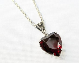 Red Heart Necklace - Victorian Necklace - Crystal Heart Necklace - Jewelry Gift - Gifts for Her - HEARTSONG Garnet