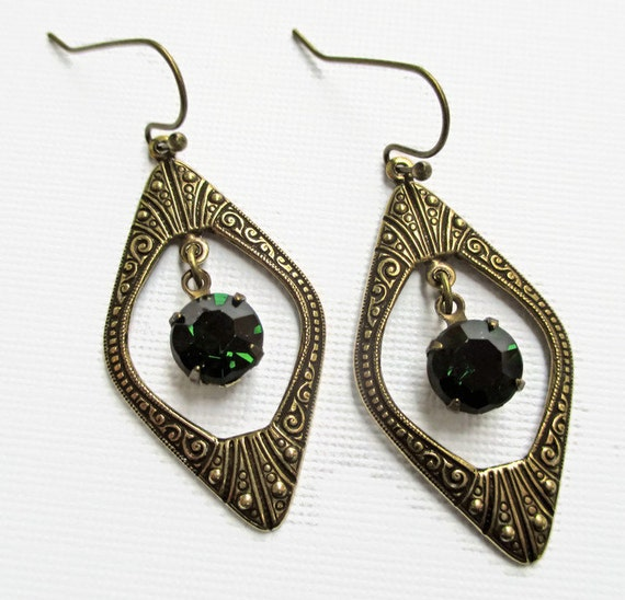 art deco jewelry great gatsby earrings emerald green may