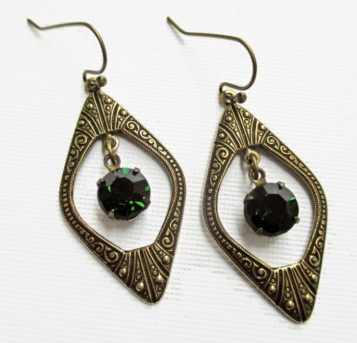 art deco jewelry great gatsby earrings emerald green may