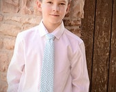 Boys Tie in Teal Geometric Pattern - Soft cotton - perfect for matching siblings