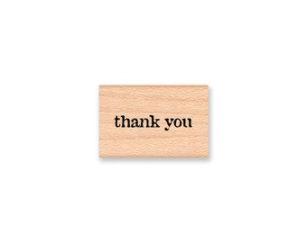 thank you Rubber Stamp~Small Thank You Stamp~Type Font~Wood Mounted Rubber Stamp by Mountainside Crafts (14-69)