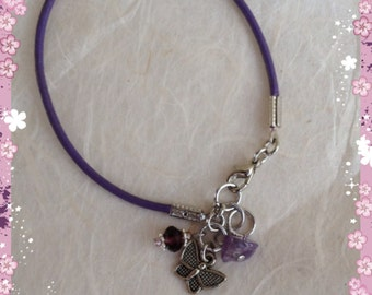 Purple Leather Fibromyalgia Awareness Butterfly Charm Bracelet, Choose ONE Charm