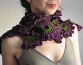 Crochet openwork lace boho bohemian scarf wrap neckwear neckpiece fall shawl in dark green purple plum shades - Wild Orchids