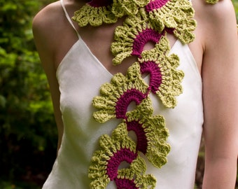 Crochet openwork lace lacy boho scarf shawl spring summer scarf crochet neckwear in celery green and orchid pink Wild Orchids READY TO SHIP