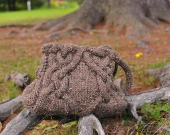 Cabled handknit shoulder bag designer purse tote bag in chocolate brown - eco-fashion - Celtic Journey