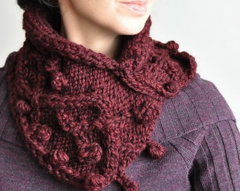 Chunky hand knit designer scarf neckwarmer cowl wrap cable irish texture burgundy oxblood vine grape twig - Heard It Through The Grapevine