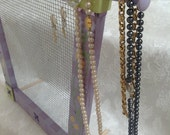 Standing Jewelry Screen Organizer, Hand Painted Lavender and Green