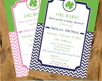 Irish Shamrock Baby Shower (Pink or Blue), Birthday or Wedding Shower  Invitation - Print Your Own