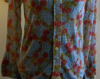 "1960's, 36"" bust, nylon chiffon printed blouse."