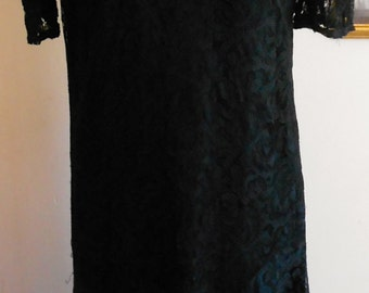 """1930's, 34"""" bust, black lace tea gown, with black silk crepe attached under dress."""