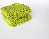 Crochet Washcloths Hot Green Eco Friendly Cotton Face Scrubbies Set of 2 - MADE TO ORDER, Bathroom Home - MyHobbyShop