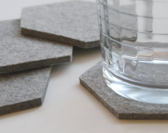 Gray Minimalist Modern Geometric Drink Cup Table Coasters Housewarming Hostess Gift Hexagon 5mm Wool Felt Ecofriendly Sustainable Barware