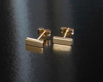 Tiny Bar Earrings in 14kt Solid Gold