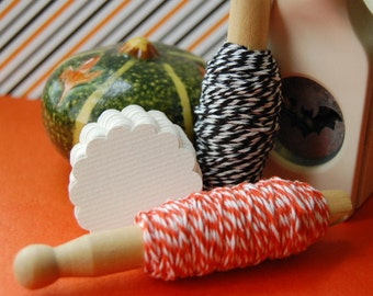 Halloween Bakers Twine and Scalloped Circle Bundle -- 20 yds twine and 30 scalloped circles -- Ready to Ship