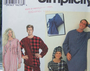 Simplicity 9291 Sewing Pattern SALE Family Sleepwear Pattern, Pajamas, Pyjama, Nightshirt, Nightcap, Drawstring Bag Size XS - M