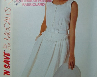 McCall's 3703 Misses' Sewing Pattern,SALE Prairie Blouse and Skirt, Scoop Neck, Sleeveless Blouse Pleated Skirt with Button Yoke Size 6 - 10
