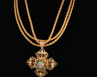 Vintage Renaissance Cross necklace bracelet rhinestones pearls interchangeable demi Baroque Gold parure religious medal
