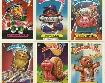 Garbage Pail Kids 1986 Trading Cards, Six Topps Chewing Gum Cards Paper Ephemera Toy Sticker Collectibles Gross Tacky Geeky