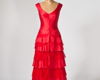 Vintage Red Silk Dress, 80s Victoria Royal Gown, Flutter Skirt, Women's Clothing, Dresses