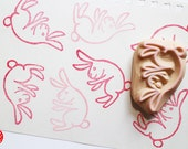 rabbit hand carved rubber stamp. easter rabbit stamp. woodland animal stamp. diy easters birthday. scrapbooking. gift wrapping. stationery
