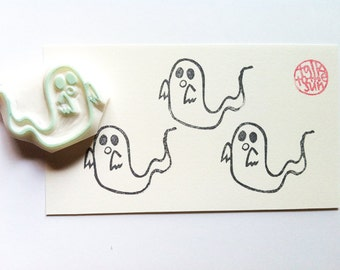 ghost stamp. halloween rubber stamp. hand carved rubber stamp. hand carved stamp. japanese ghost. packaging stamp. hallooween craft projects