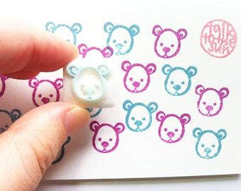 teddy bear stamp. bear cub hand carved rubber stamp. woodland animal stamp. diy birthday baby shower. card making craft projects.