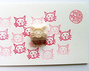 cat hand carved rubber stamp. kitten stamp. pet animal stamp. diy birthday baby shower. scrapbooking. holiday crafts. cat stationery. small
