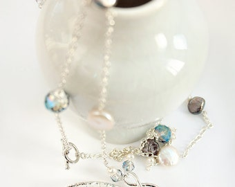 Raindrop, Gems and Jewels Necklace in Silver