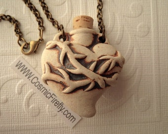 Heart Necklace Heart Bottle Necklace Natural Stoneware Ceramic Bottle Jewelry Brass Rolo Chain Anatomical Heart Sacred Heart Valentine's Day