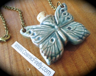 CLEARANCE SALE Blue Butterfly Necklace Small Ceramic Bottle Antiqued Brass Rolo Chain Blue Raku Ceramic Woman's Necklace Steampunk Pendant