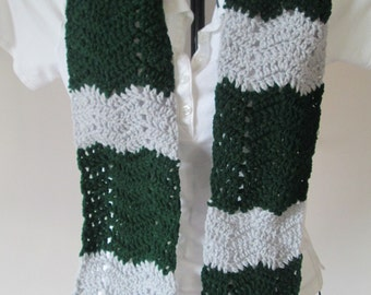 Light Grey and Hunter Green, Slytherin Colors, Chevron Scarf, Ready to Ship