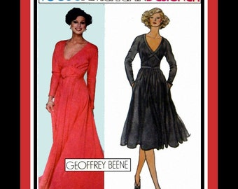 Vintage 1970s- Empire Waist Grecian Goddess Evening Gown-Day Dress-Vogue Designer Sewing Pattern -GEOFFREY BEENE -Uncut -Size 8  -Mega Rare