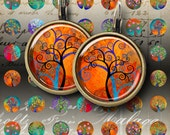 12 mm and 15 mm size images MAGICAL TREE CIRCLES Printable Digital Sheets for pendants bracelets earrings bezel settings rings cufflinks