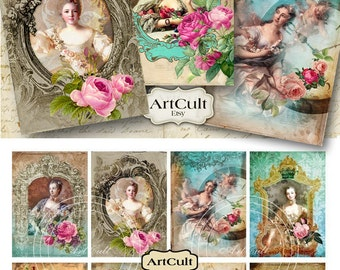 Printable Digital Collage Sheet MADAME DE POMPADOUR 2.5x3.5 inch print-it-yourself Gift Tags Jewelry Holders vintage ephemera Paper ArtCult