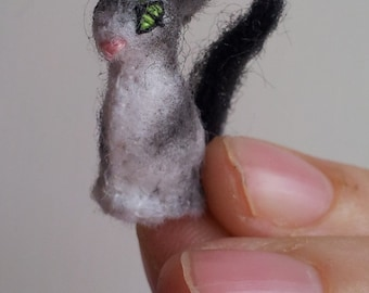 Tiny Black & White Cat -- miniatures felt animals collectibles stocking stuffers unique cute kittens kitties micro small plush