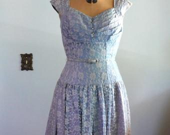 vintage 1950s Dress  // Blue Lace Dress