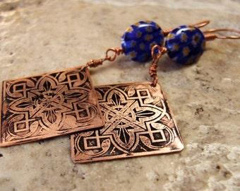Etched Copper Earrings Art Deco Design