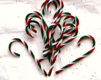 12 Chenille Candy Canes Red Green and White, Primitive Vintage Style Chenille Ornaments  (CCC-2)