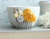 Yellow and Grey Flower Comb, Ivory, Leaf, Pearl Collage Hair Comb, Bridesmaids Gift, Bridal Hair Wedding. Yellow Grey Wedding, Summer Rustic