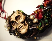 Polymer Clay Necklace Skull Tropical Nightmares Halloween - LeggendeSegrete
