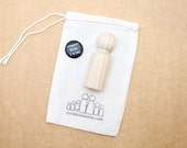 """3"""" Big Brother Doll // Little Wooden People Fair Trade 1 Natural Wooden Doll - Unpainted Blank Wooden Doll"""