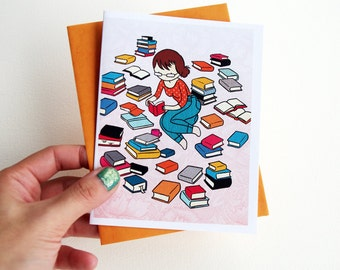 Book Lover Card - Bibliophile Blank Card with Envelope