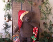 Primitive Christmas Standing Santa Bear and Candy Cane ofg hafair ab4b Christmas in July