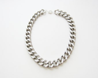 Matte Chunky Silver Chain Necklace
