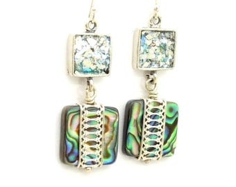 Abalone shell earrings set in sterling silver and glass