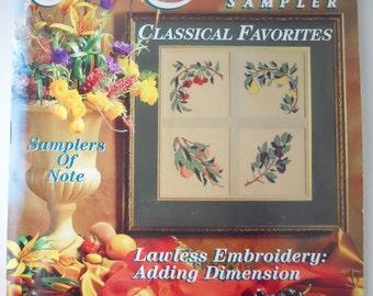 CROSS STITCH SAMPLER magazine, Frank Lloyd Wright pattern, victorian floral heart, fruit, afghan decor
