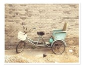 Teal Bike Photograph / Pale Blue Bicycle Photography / Beijing China Travel Print / Dreamy Soft Whimsical / Rustic Wall Art - JillianAudreyDesigns